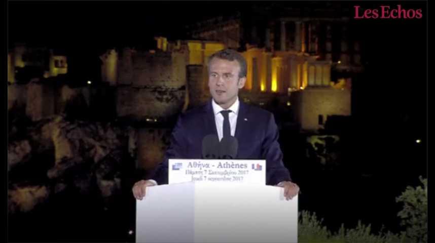 Illustration pour la vidéo A Athènes, Macron appelle à un budget et à un parlement de la zone euro
