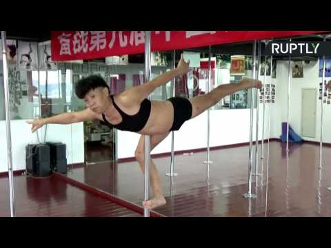 70yo Chinese Grandpa Shows Off Uncanny Pole Dancing Skills