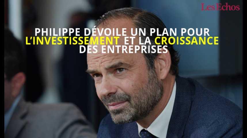 Illustration pour la vidéo Edouard Philippe dévoile un plan pour l'investissement et la croissance des entreprises