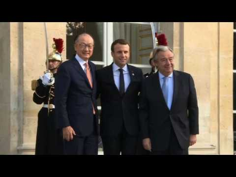 Kim, Guterres join France's Macron to discuss climate finance