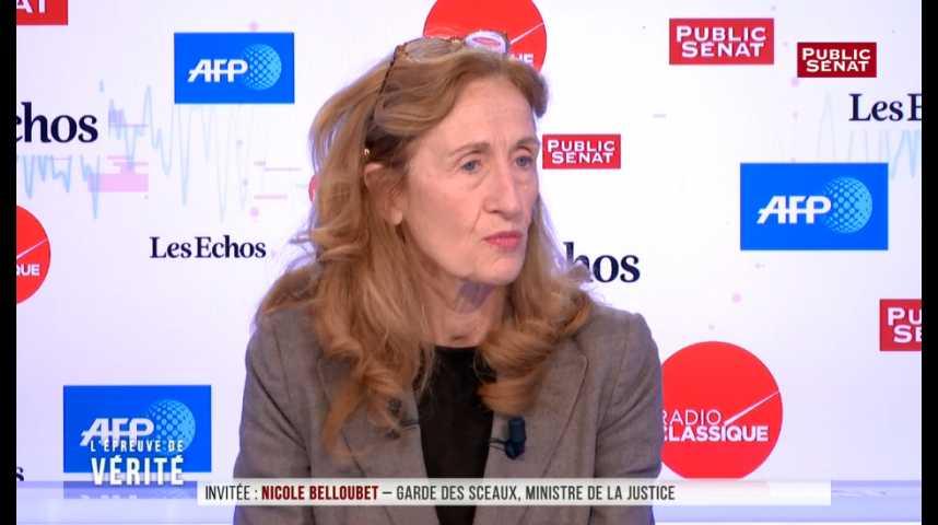 """Illustration pour la vidéo Affaire Urvoas: Belloubet admet solliciter """"rarement"""" des remontées du parquet"""