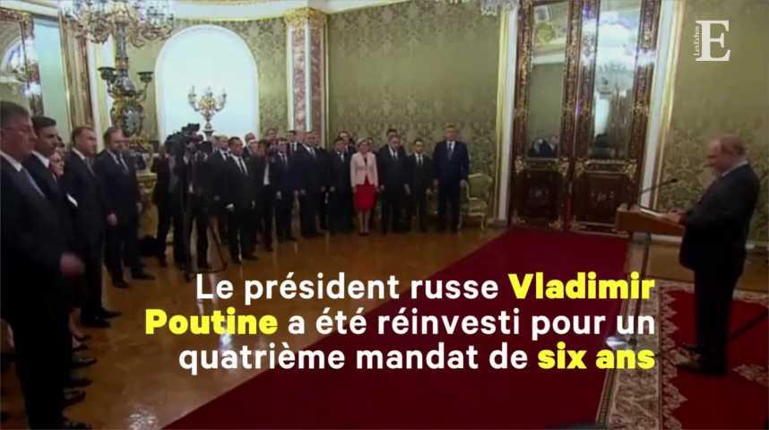 Illustration pour la vidéo Poutine, réinvesti président, conserve Medvedev comme Premier ministre