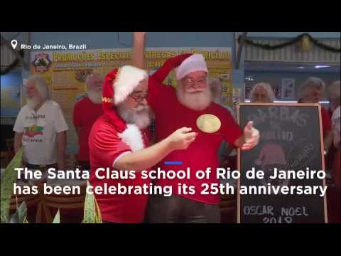 Rio's Santa Claus school graduates celebrate with a beard trim