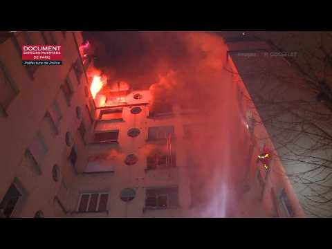 Violent fire in a building in the 16th arrondissement of Paris: at least ten dead and 37 injured (provisional death toll) - Image produced by the Firemen of Paris