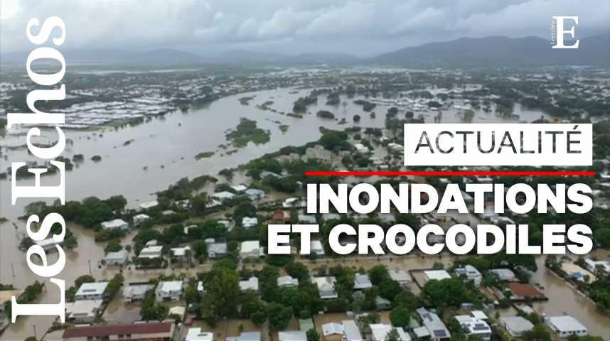 Illustration pour la vidéo Inondations en Australie : des crocodiles en ville