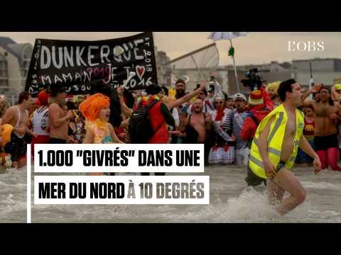 """Dunkerque : 1.000 """"givrés"""" se baignent dans la mer du Nord pour débuter 2019"""