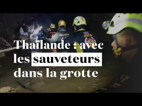 Thaïlande : les images impressionnantes des sauveteurs qui avancent dans la grotte