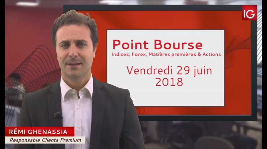 Illustration pour la vidéo Point Bourse du vendredi 29 juin 2018