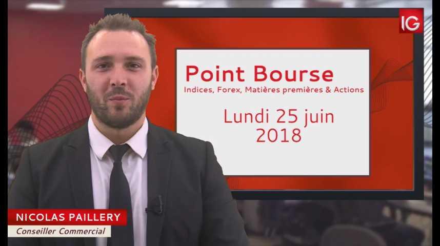 Illustration pour la vidéo Point Bourse du lundi 25 juin 2018