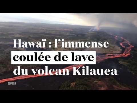 Hawaï : l'immense coulée de lave du volcan Kilauea vue du ciel