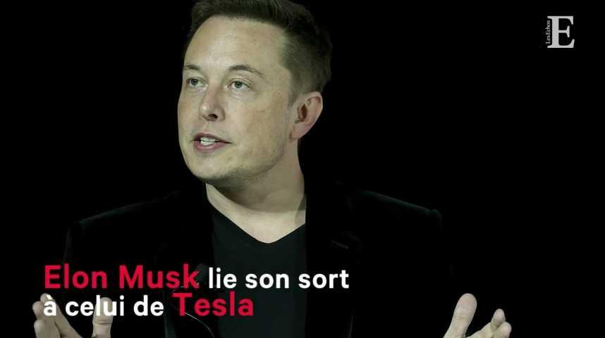 Illustration pour la vidéo Elon Musk lie son sort à celui de Tesla