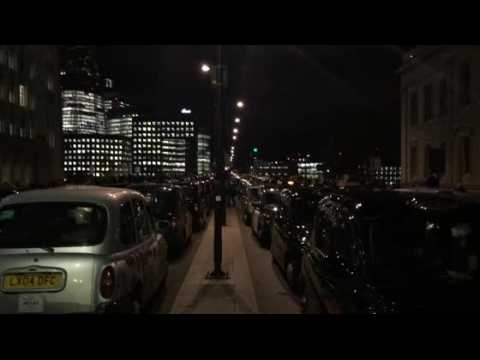 London black cab drivers stage a protest on London