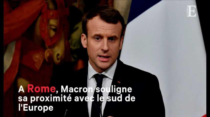Illustration pour la vidéo A Rome, Macron souligne sa proximité avec le sud de l'Europe