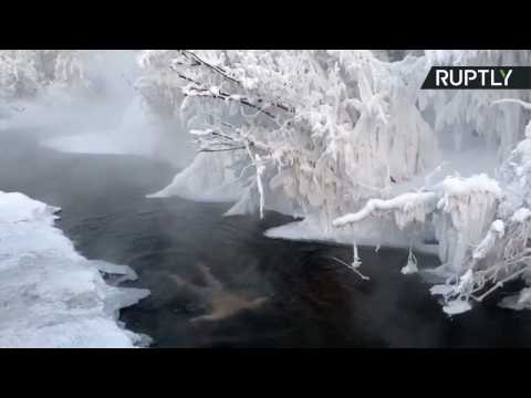 German Tourist Takes Icy Plunge in Coldest Town on Earth