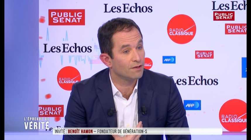 """Illustration pour la vidéo Benoît Hamon: """"Ce que Macron fait sur les migrants est comparable à la déchéance de nationalité"""""""