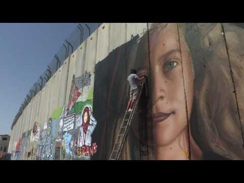 Artist honours jailed Palestinian on Israel's separation barrier