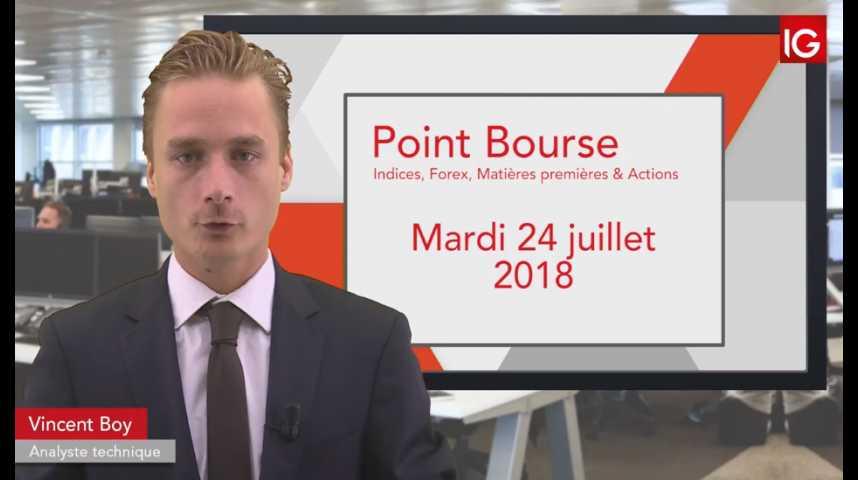 Illustration pour la vidéo Point Bourse du mardi 24 juillet 2018