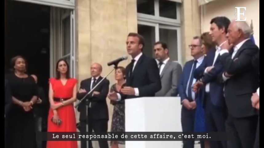 Illustration pour la vidéo Emmanuel Macron : « Le seul responsable de cette affaire, c'est moi »