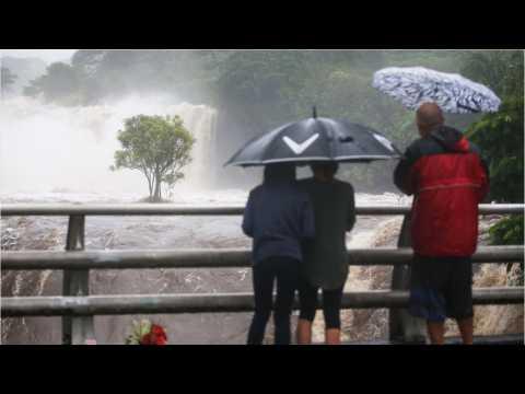 Wailuku River Floods Due To Rains From Hurricane Lane