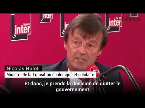 """Nicolas Hulot: """"Je prends la décision de quitter le gouvernement"""""""