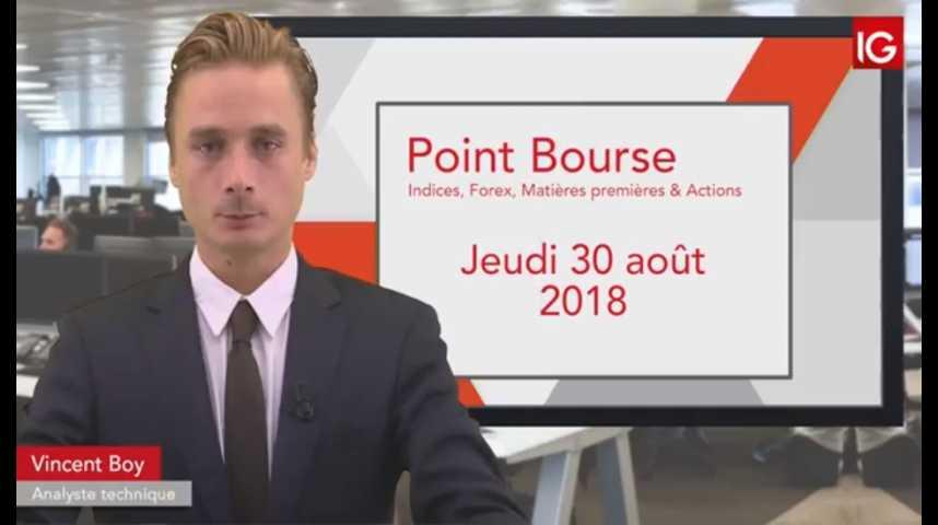 Illustration pour la vidéo Point Bourse IG du jeudi 30 août 2018