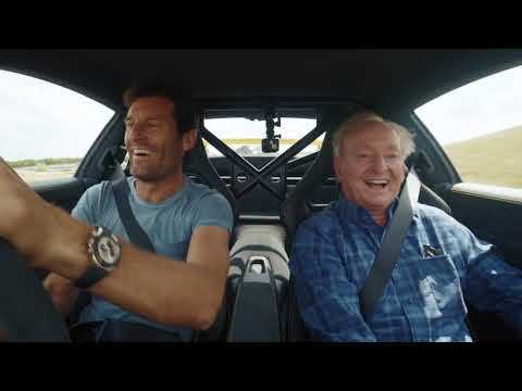 Rod Laver and Mark Webber driving the Porsche 911 GT3 RS