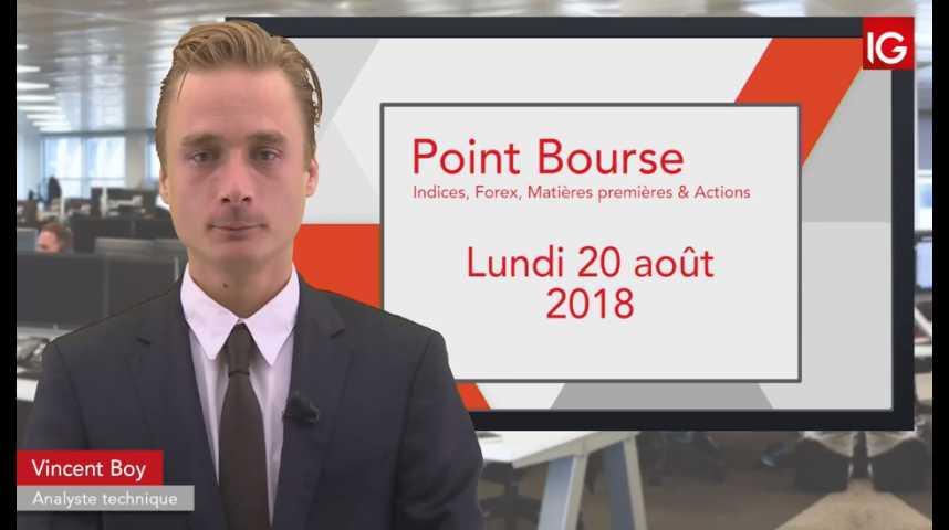 Illustration pour la vidéo Point Bourse du lundi 20 août 2018