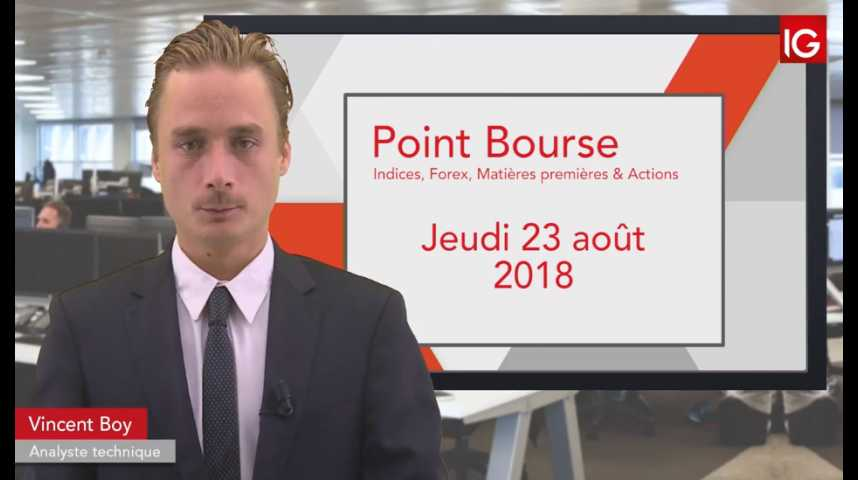 Illustration pour la vidéo Point Bourse IG du jeudi 23 août