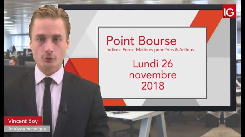 Illustration pour la vidéo Point Bourse IG du lundi 26 novembre 2018