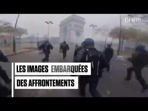 """Affrontements sous l'Arc de Triomphe : les images embarquées des policiers face aux """"gilets jaunes"""""""