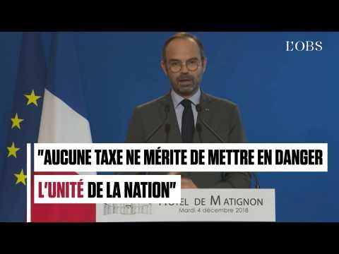 """Edouard Philippe : """"Aucune taxe ne mérite de mettre en danger l'unité de la nation"""""""