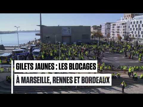 Rennes, Bordeaux, Marseille : les images des rassemblements de gilets jaunes
