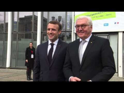 French President Macron arrives in Berlin