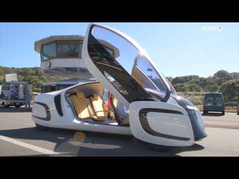 Sleek ultra-light plastic concept car tested in Shizuoka