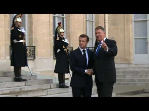 French and Romanian presidents meet at Elysee Palace in Paris