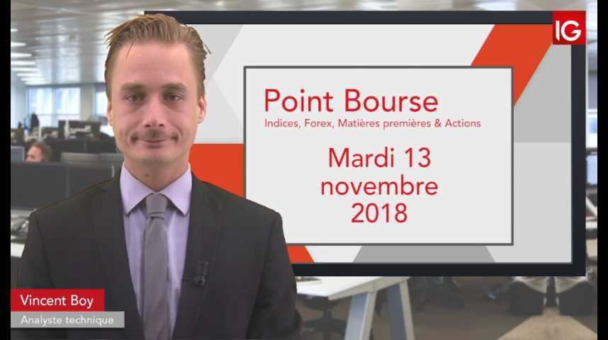 Illustration pour la vidéo Point Bourse IG du mardi 13 novembre 2018