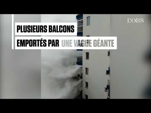 Une vague géante détruit les balcons d'un immeuble à Tenerife