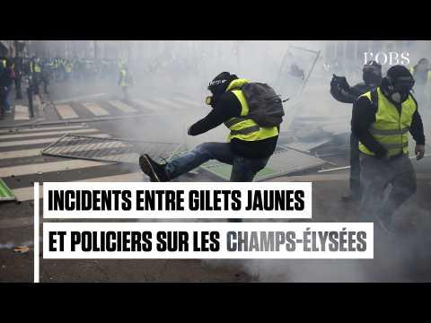 """Champs-Elysées : premiers incidents entre """"gilets jaunes"""" et policiers"""