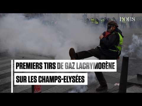 """""""Gilets jaunes"""", acte 4 : premiers accrochages entre la police et les manifestants sur les Champs-Elysées"""