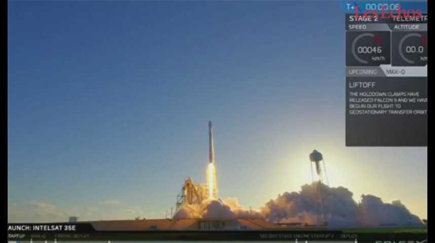 Illustration pour la vidéo Après 2 reports, Space X lance avec succès un satellite Intelsat