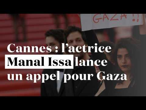 Cannes : l'actrice franco-libanaise Manal Issa brandit une pancarte pour Gaza