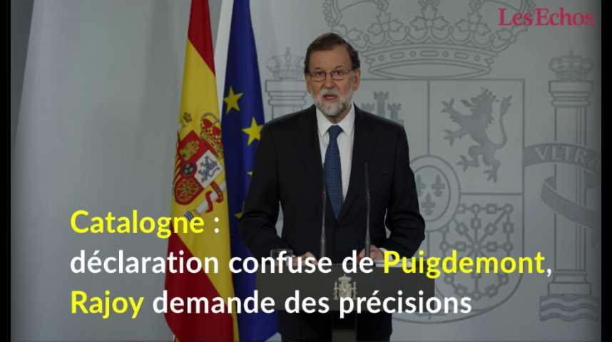 Illustration pour la vidéo Catalogne : déclaration confuse de Puigdemont, Rajoy demande des précisions