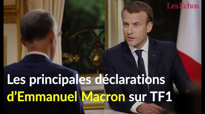Illustration pour la vidéo Les principales déclarations d'Emmanuel Macron sur TF1