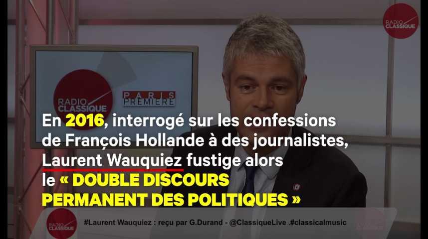 Illustration pour la vidéo Quand Wauquiez fustigeait le « double discours des hommes politiques », en public et en « off »