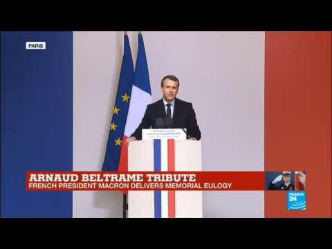 France Shooting: Watch the French president Emmanuel Macron''s tribute to slain hero officer Arnaud Beltrame