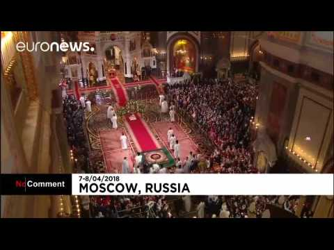 Russia's President Putin attends Orthodox Easter church service