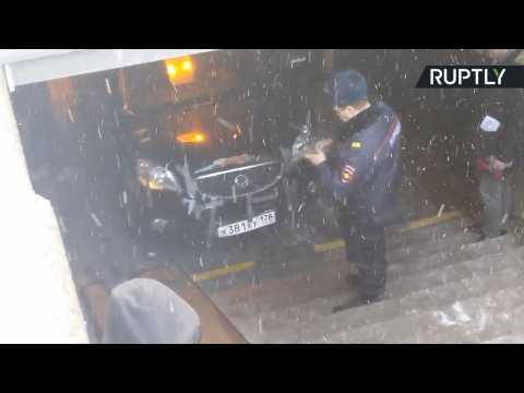 Pensioner Drives SUV Down Into Subway, Gets Stuck