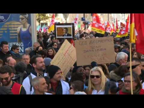 Marseille protest as unions strike against Macron reforms