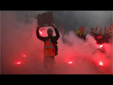 Strikes Break Out Across France In Response To Macron's Reform Drive