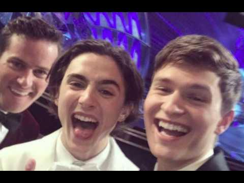 Ansel Elgort's selfie image most liked Oscars Instagram post